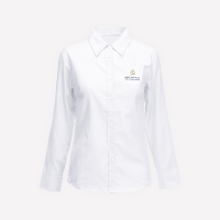 White Long Sleeve Blouse With Logo- G1-10